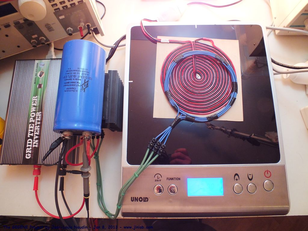 Test 9 Closed Loop Phase 2 Of The Gegene Via A Grid Tie Power Circuit Diagram Induction Cooker Simply By Moving Feed Back Coil On So We Are Able To Adjust Ratio Between Output Halogen Lamps And